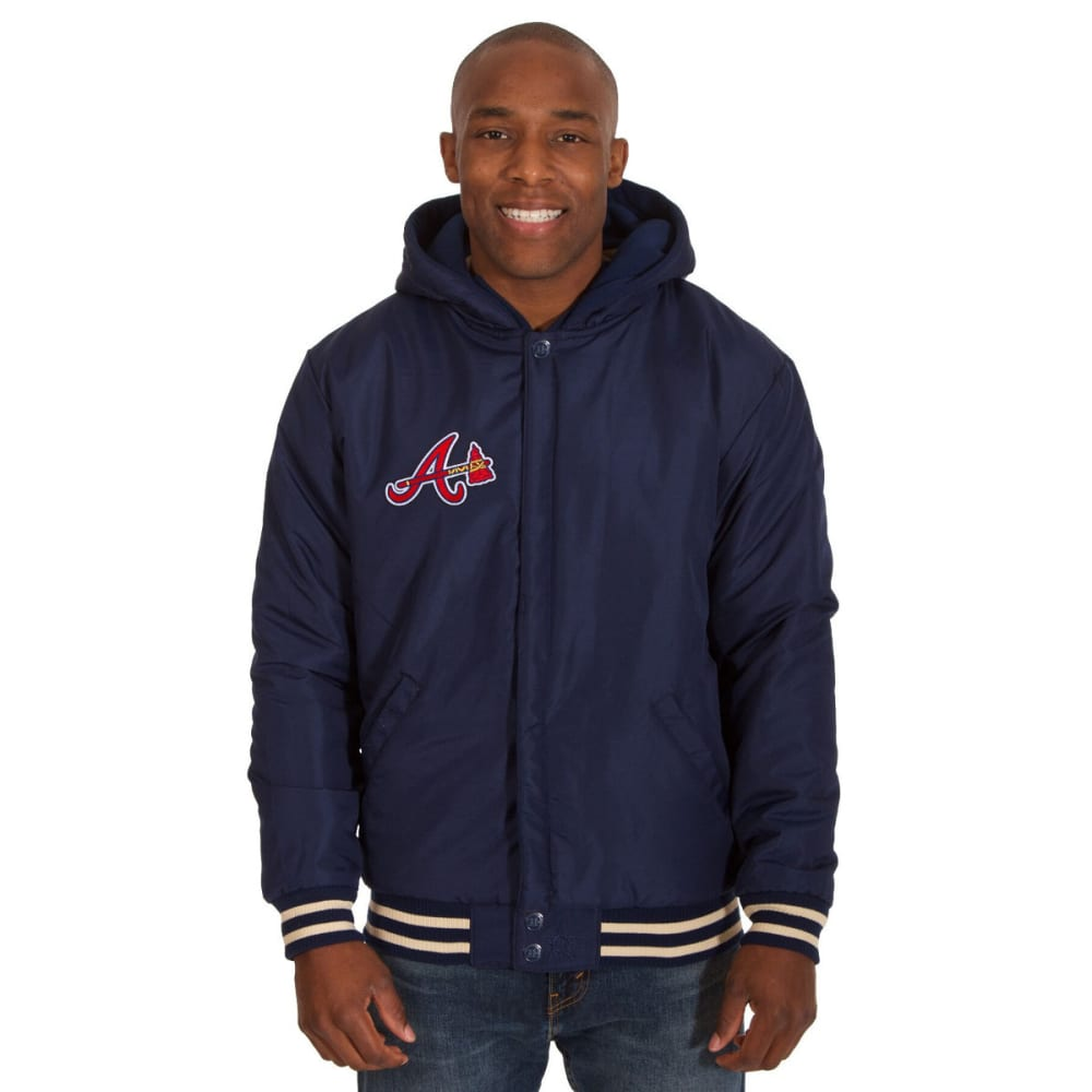 ATLANTA BRAVES Men's Reversible Fleece Hooded Jacket - NAVY-CREAM