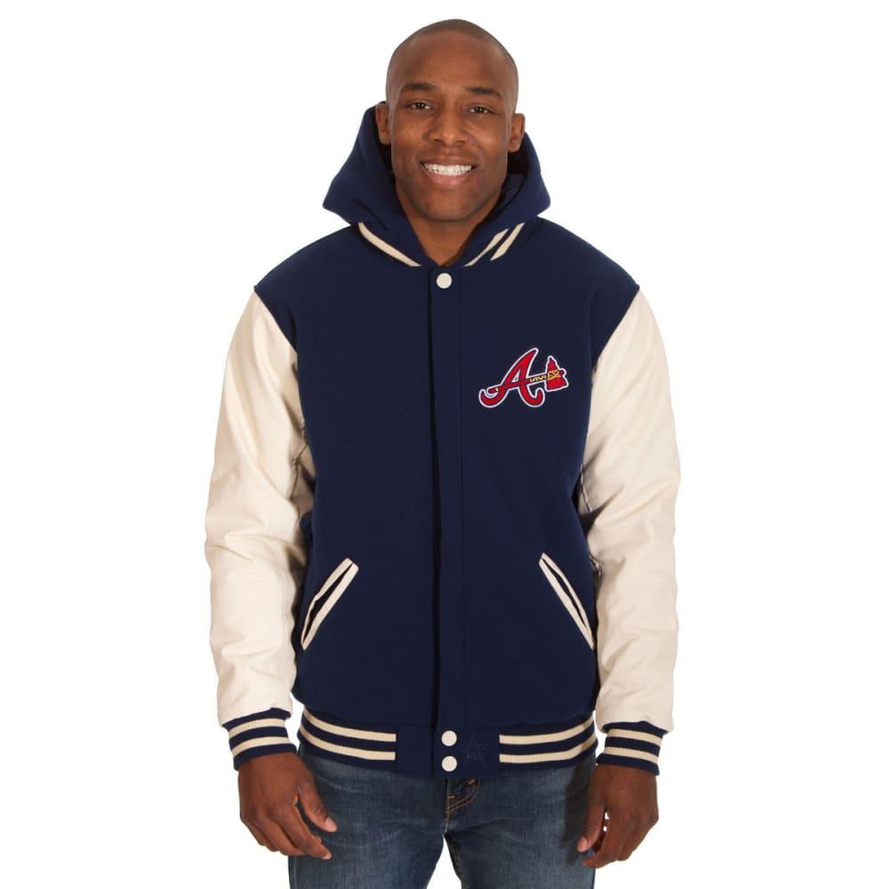ATLANTA BRAVES Men's Reversible Fleece Hooded Jacket - NAVY-CREAM