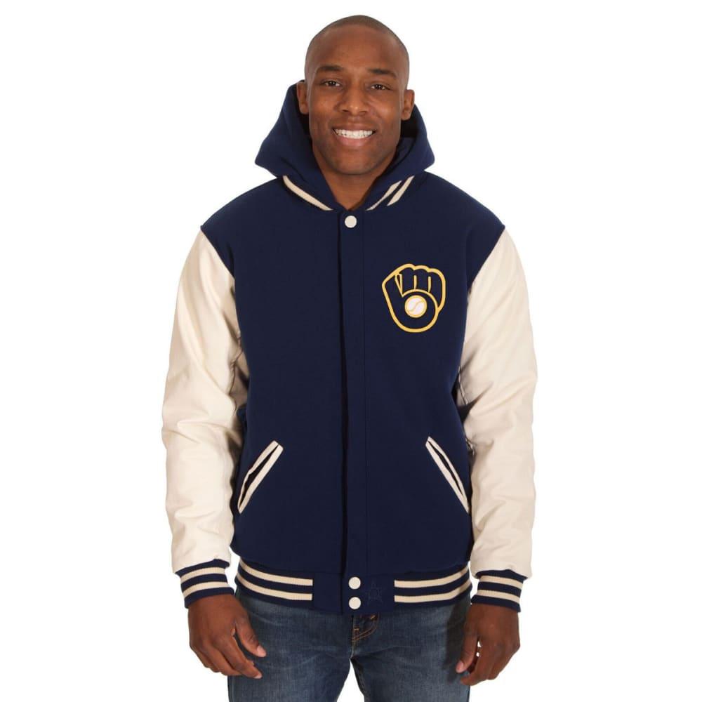 MILWAUKEE BREWERS Men's Reversible Fleece Hooded Jacket - NAVY-CREAM