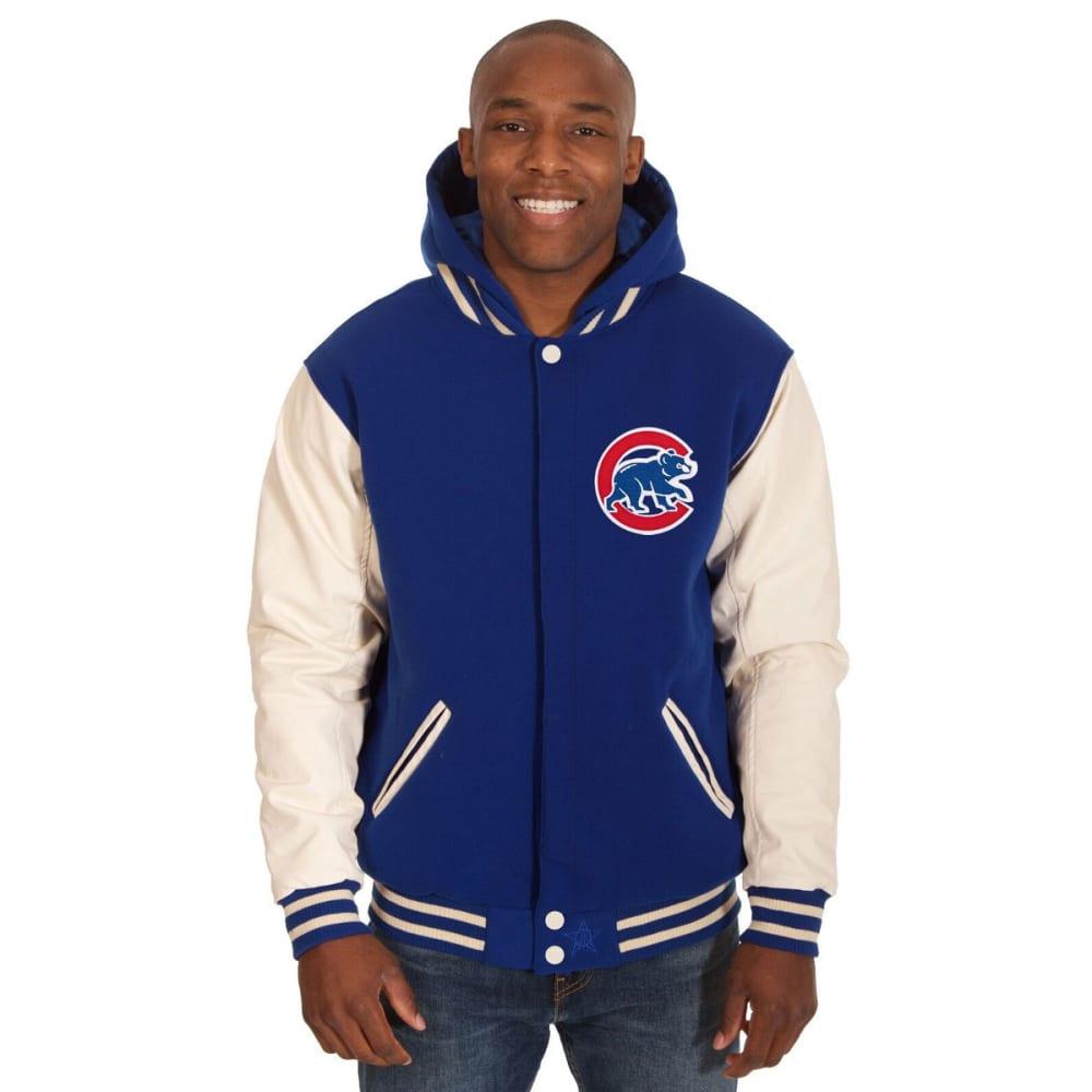CHICAGO CUBS Men's Reversible Fleece Hooded Jacket - ROYAL-CREAM