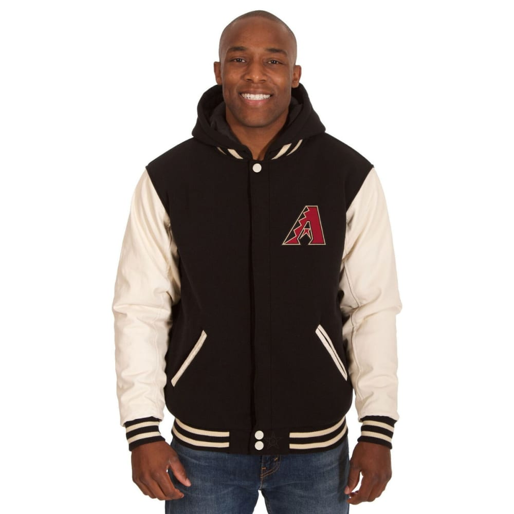 ARIZONA DIAMONDBACKS Men's Reversible Fleece Hooded Jacket - BLACK-CREAM