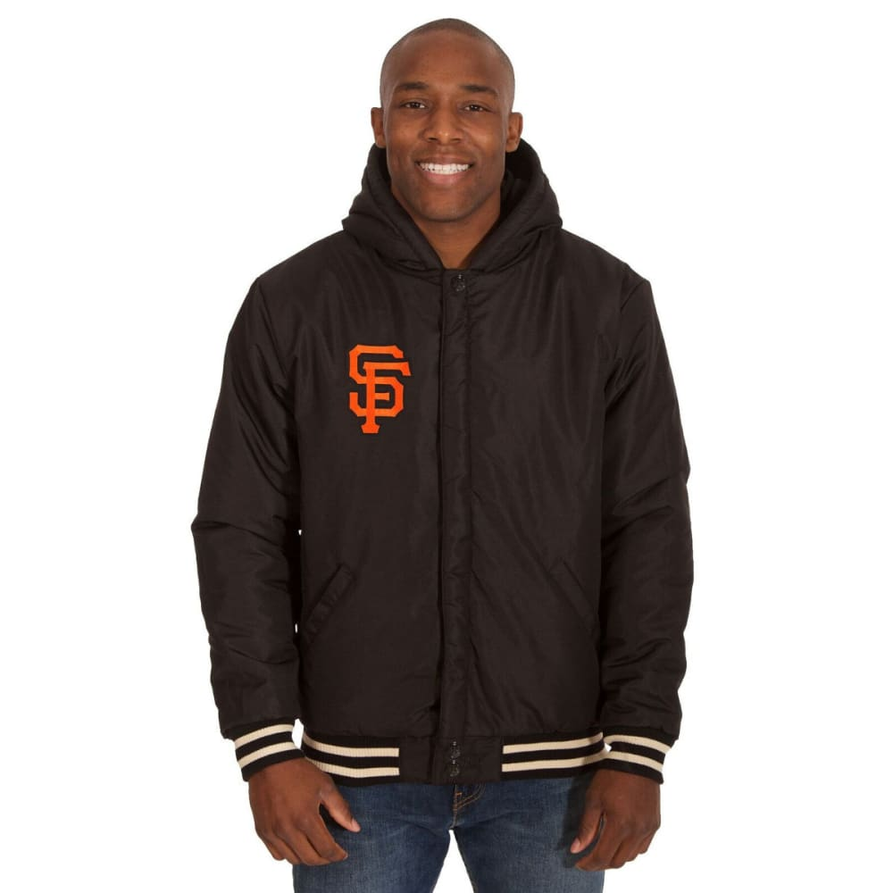 SAN FRANCISCO GIANTS Men's Reversible Fleece Hooded Jacket - BLACK-CREAM