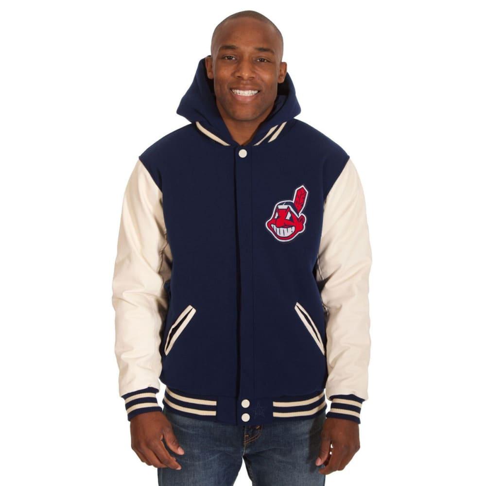 CLEVELAND INDIANS Men's Reversible Fleece Hooded Jacket - NAVY-CREAM