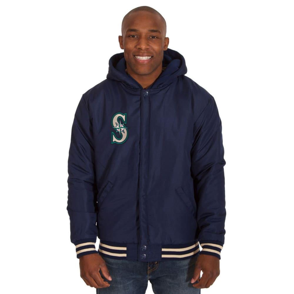 SEATTLE MARINERS Men's Reversible Fleece Hooded Jacket - NAVY-CREAM