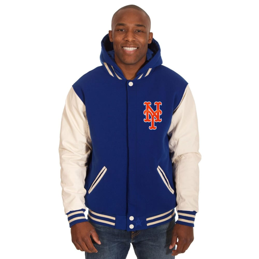 NEW YORK METS Men's Reversible Fleece Hooded Jacket - ROYAL-CREAM
