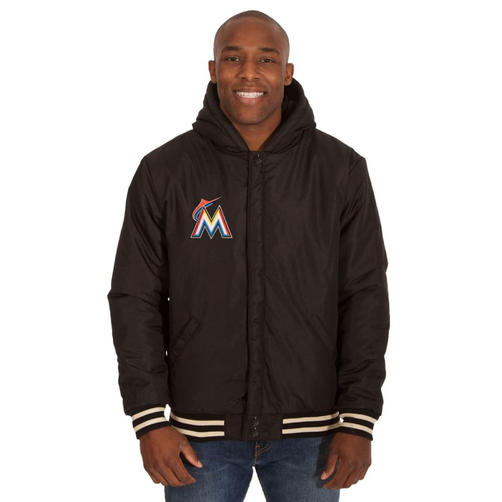 MIAMI MARLINS Men's Reversible Fleece Hooded Jacket - BLACK-CREAM