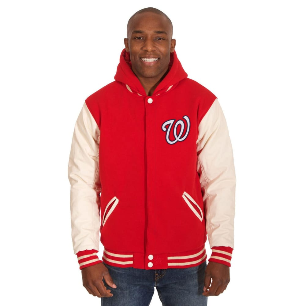 WASHINGTON NATIONALS Men's Reversible Fleece Hooded Jacket - RED-CREAM