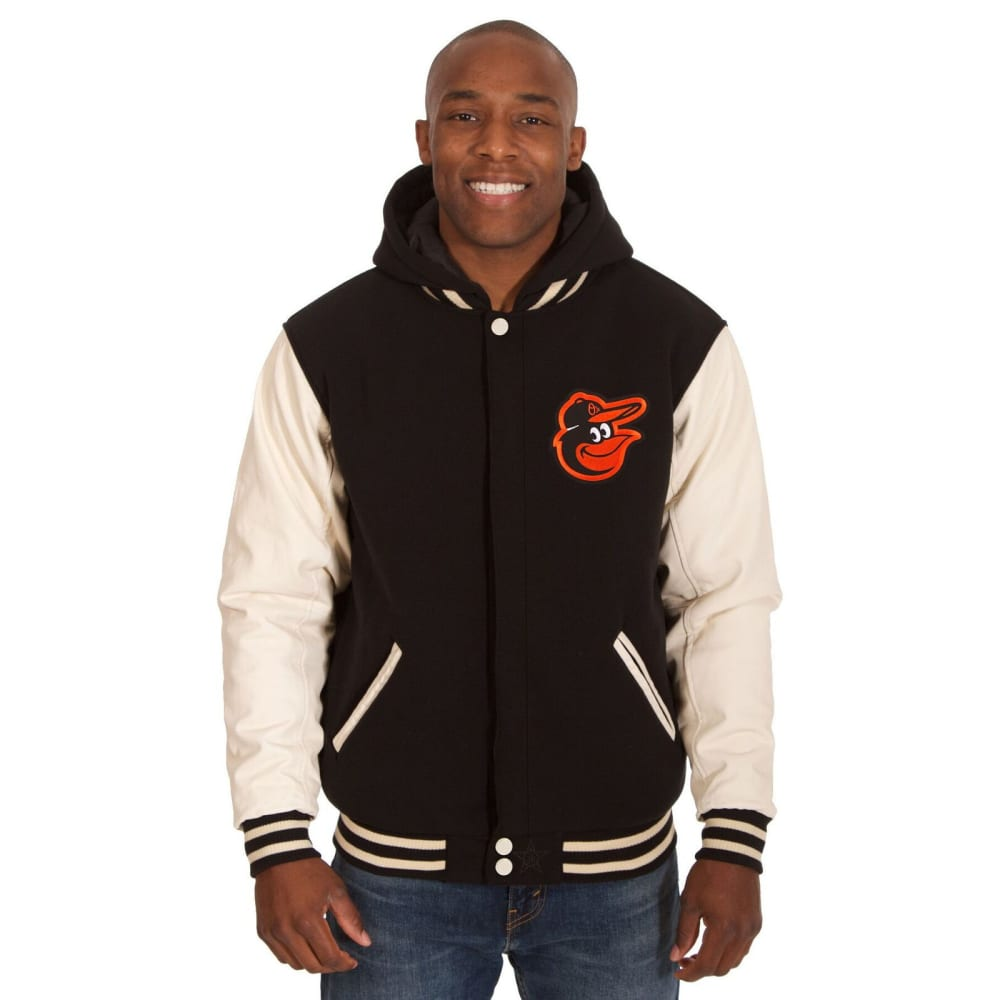 BALTIMORE ORIOLES Men's Reversible Fleece Hooded Jacket - BLACK-CREAM