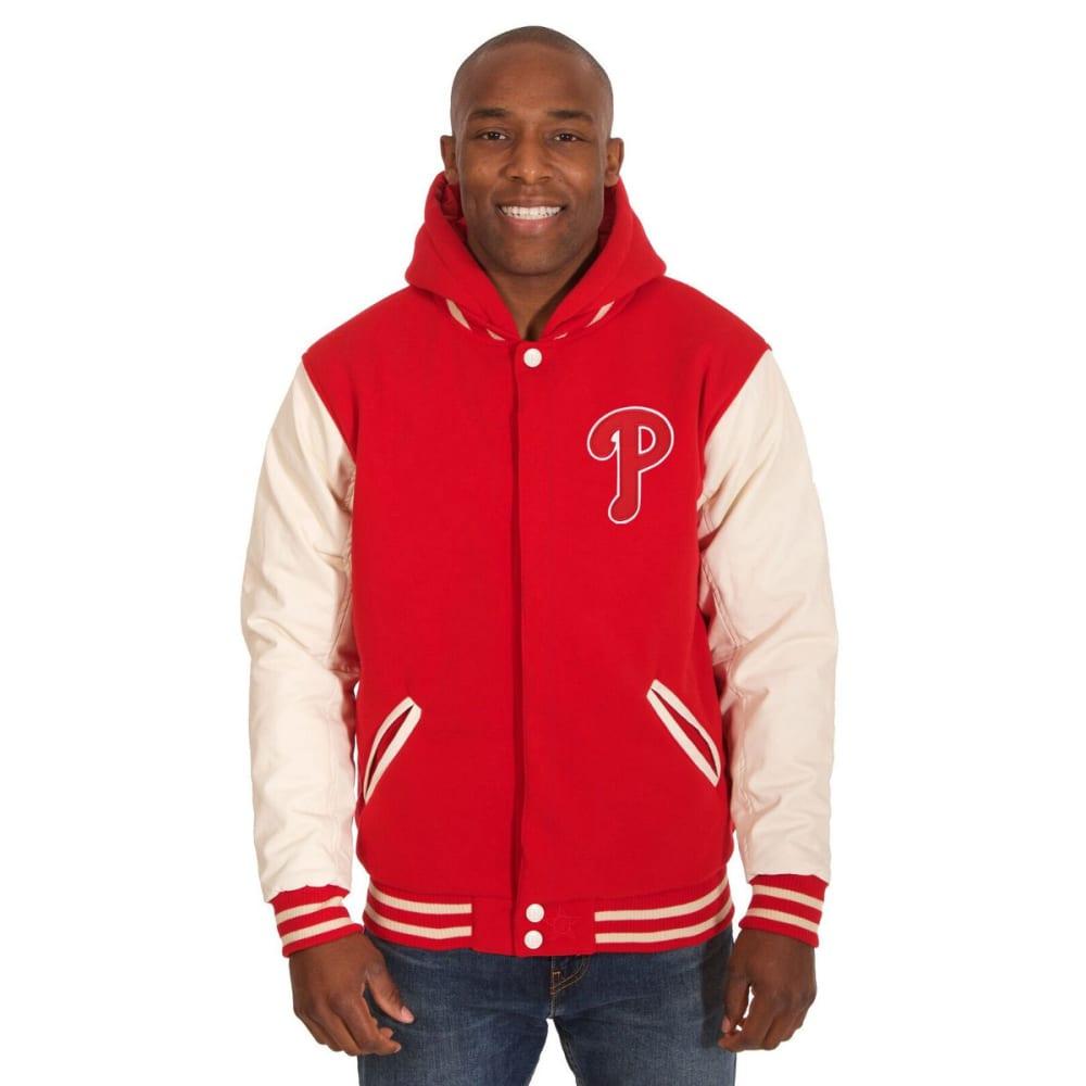 PHILADELPHIA PHILLIES Men's Reversible Fleece Hooded Jacket - RED-CREAM