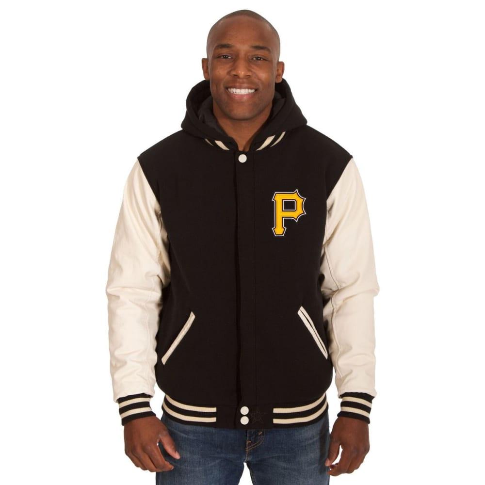 PITTSBURGH PIRATES Men's Reversible Fleece Hooded Jacket - BLACK-CREAM