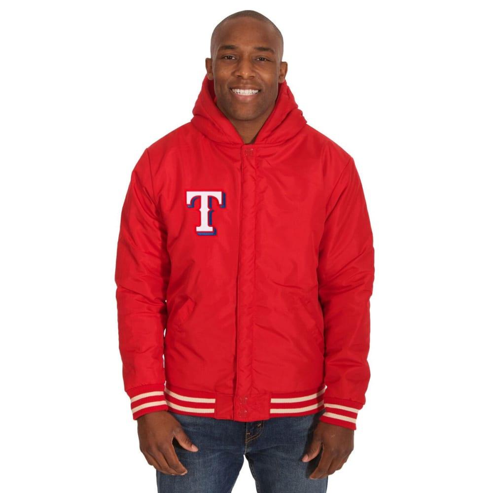 TEXAS RANGERS Men's Reversible Fleece Hooded Jacket - RED-CREAM