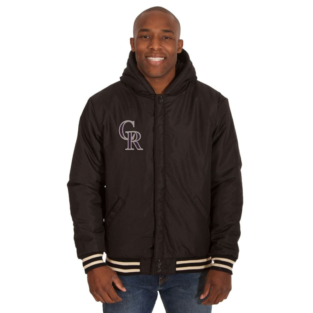 COLORADO ROCKIES Men's Reversible Fleece Hooded Jacket - BLACK-CREAM