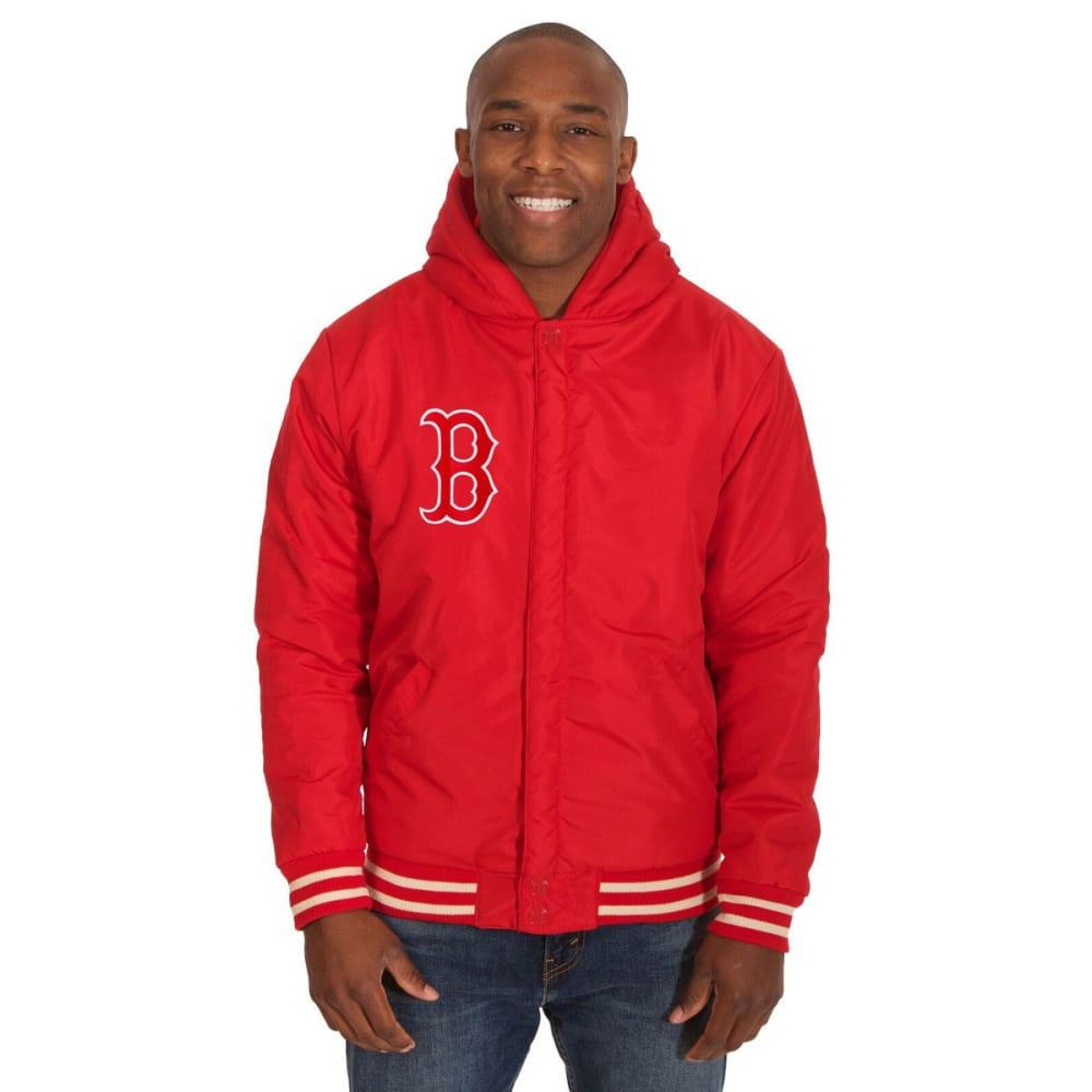 BOSTON RED SOX Men's Reversible Fleece Hooded Jacket - RED-CREAM