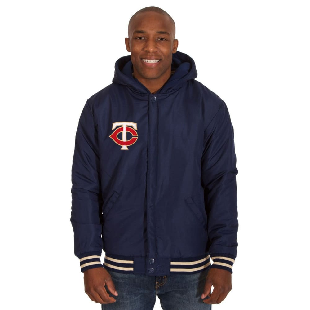 MINNESOTA TWINS Men's Reversible Fleece Hooded Jacket - NAVY-CREAM