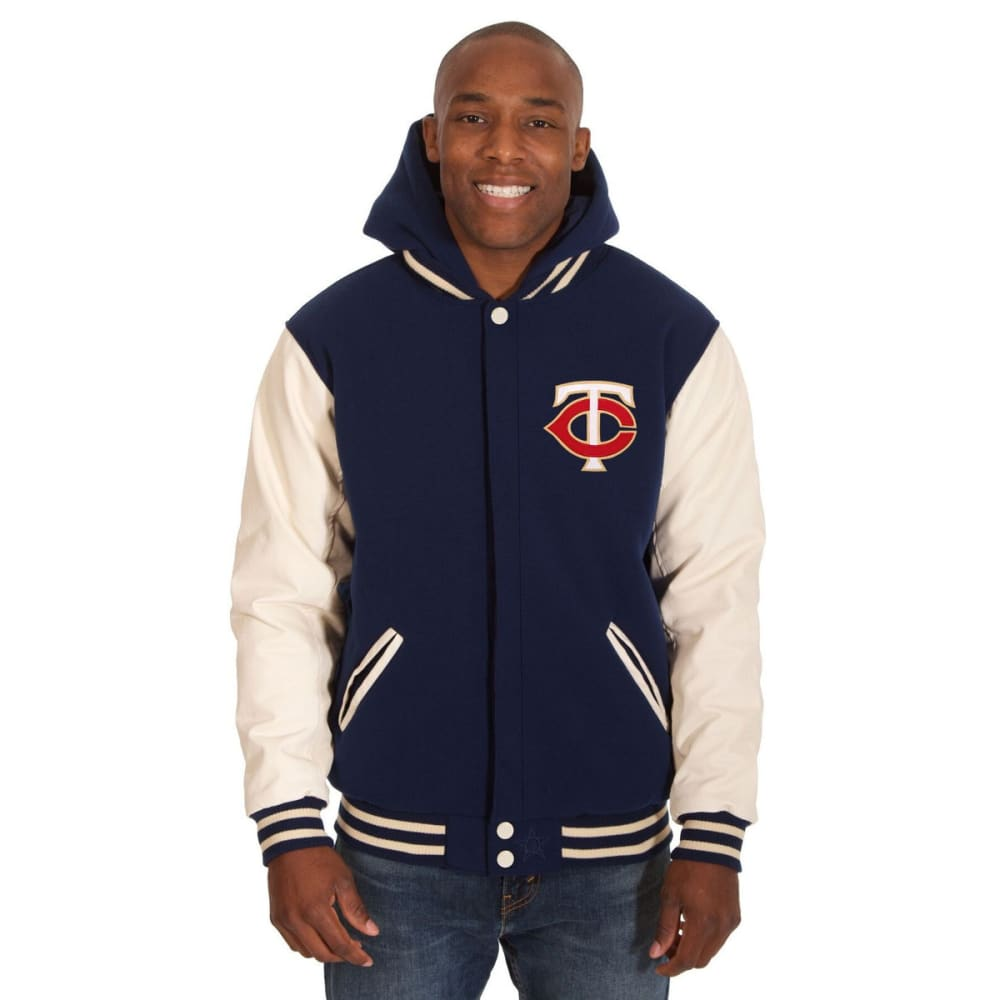 MINNESOTA TWINS Men's Reversible Fleece Hooded Jacket - NAVY-CREAM