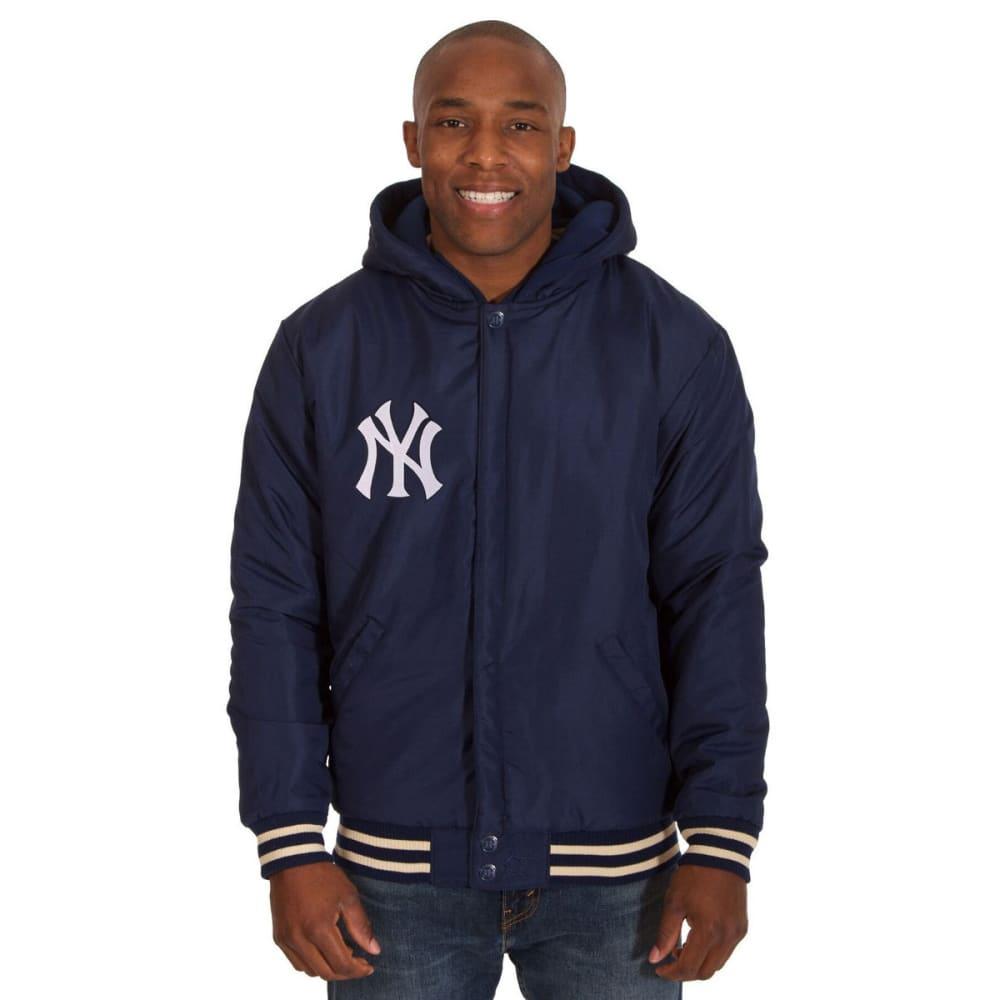 NEW YORK YANKEES Men's Reversible Fleece Hooded Jacket - NAVY-CREAM