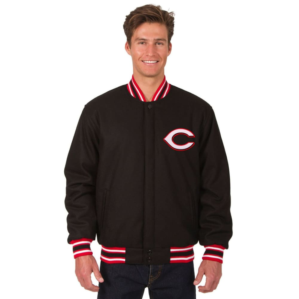 CINCINNATI REDS Men's Reversible Wool Jacket - BLACK-RED