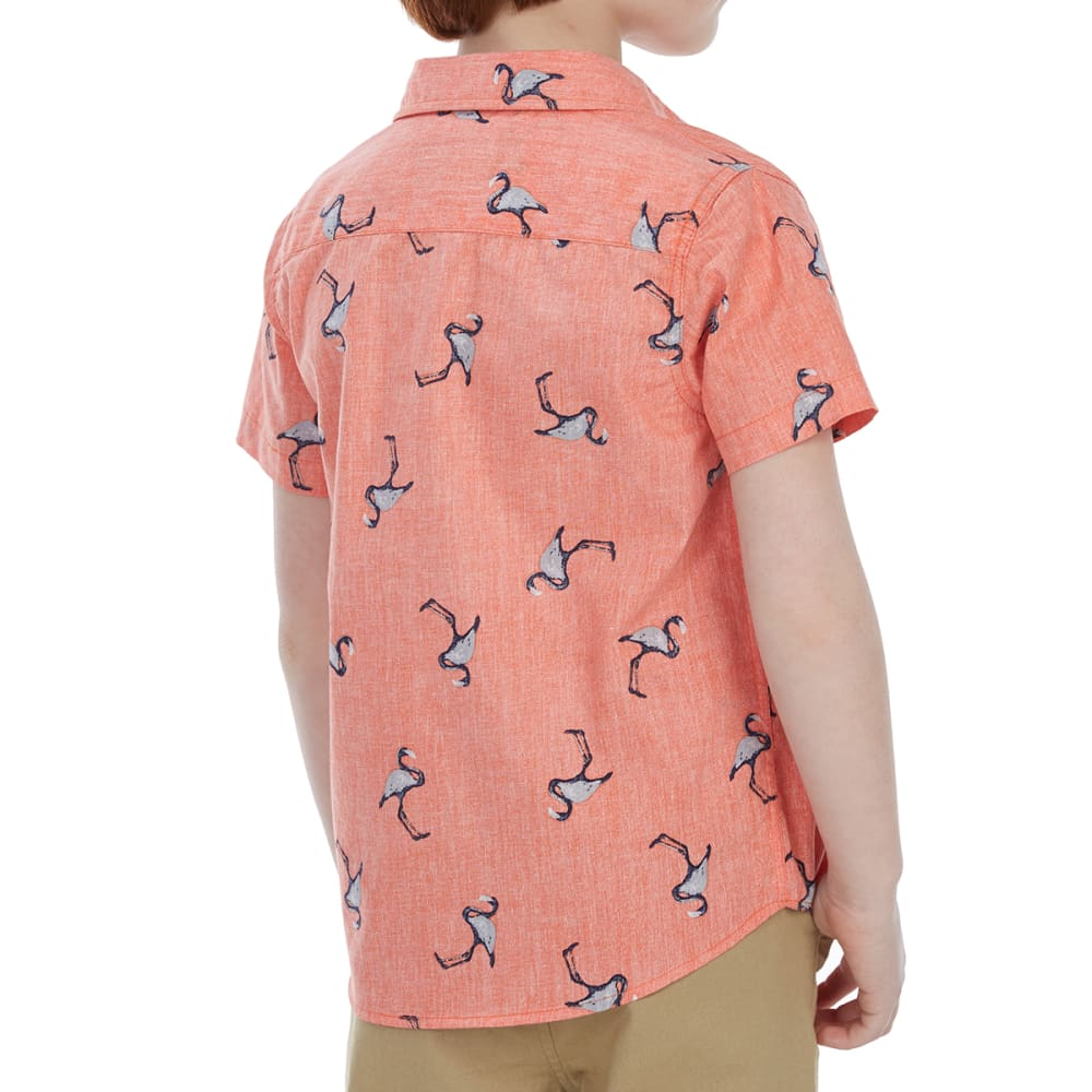 OCEAN CURRENT Little Boys' YeaYea Poplin Woven Short-Sleeve Shirt - CORAL