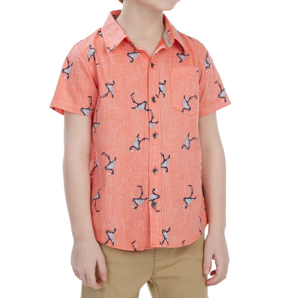 OCEAN CURRENT Little Boys' YeaYea Poplin Woven Short-Sleeve Shirt - CORAL