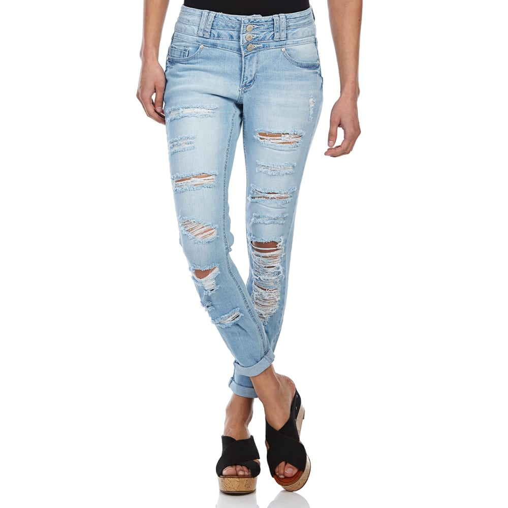 BLUE SPICE Juniors' Triple-Stack Destruction Skinny Jeans - LIGHT KYLIE