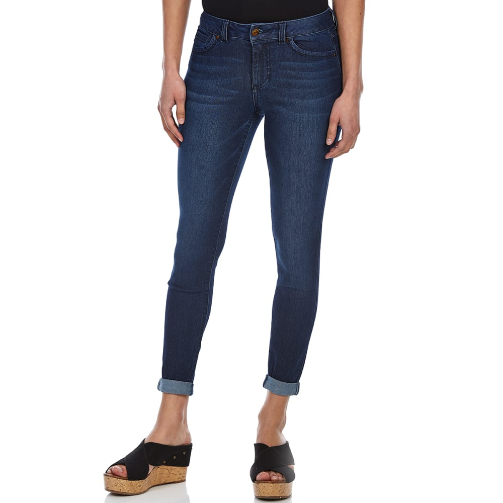 BLUE SPICE Juniors' Rayon Blend Roll-Cuff Jeans - DARK LORIE