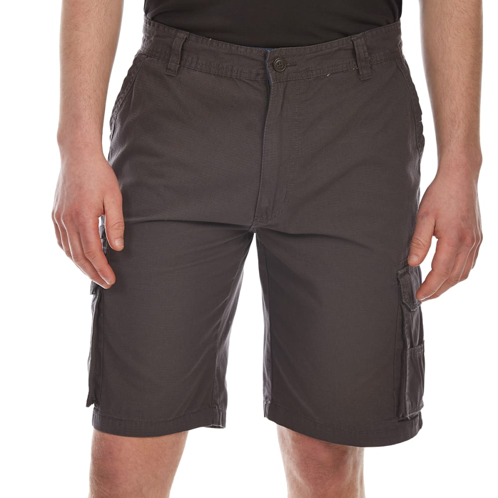 RUGGED TRAILS Men's Ripstop Cargo Shorts - CHARCOAL