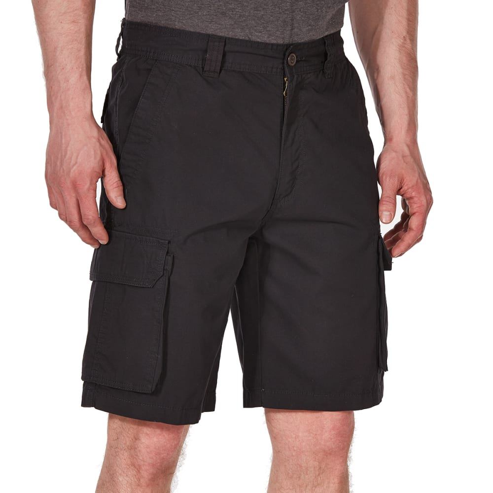 RUGGED TRAILS Men's Canvas Cargo Shorts - BLACK