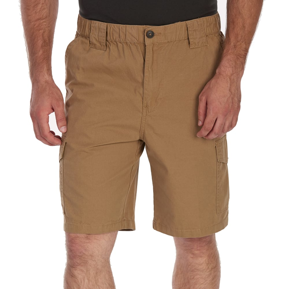 RUGGED TRAILS Men's Canvas Elastic Waist Hiking Shorts - DESERT CAMEL