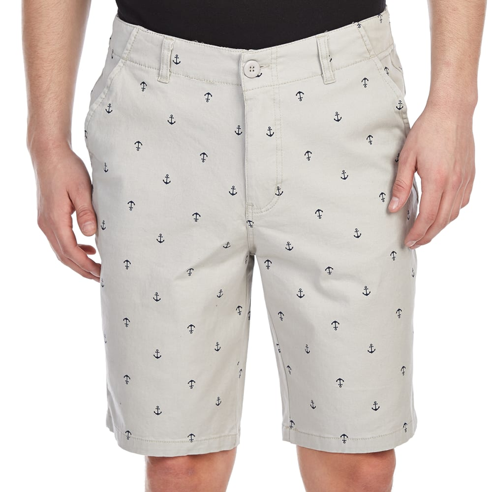 D55 Guys Printed Stretch Flat Front Twill Shorts - White, 29