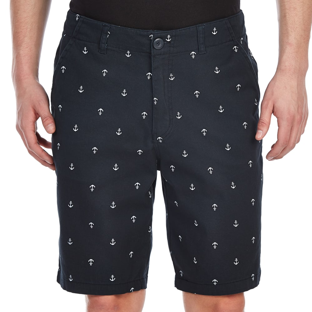 D55 Guys' Printed Stretch Flat Front Twill Shorts - STONE/NAVY