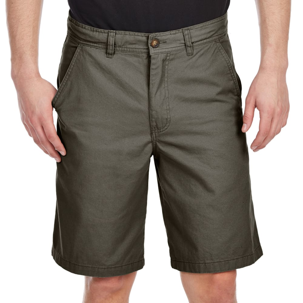 BCC Men's Flat Front Twill Shorts - Green, 32