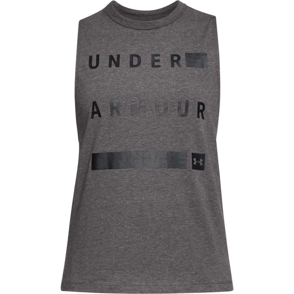 UNDER ARMOUR Women's Linear Wordmark Muscle Tee - CMH/BLK-019