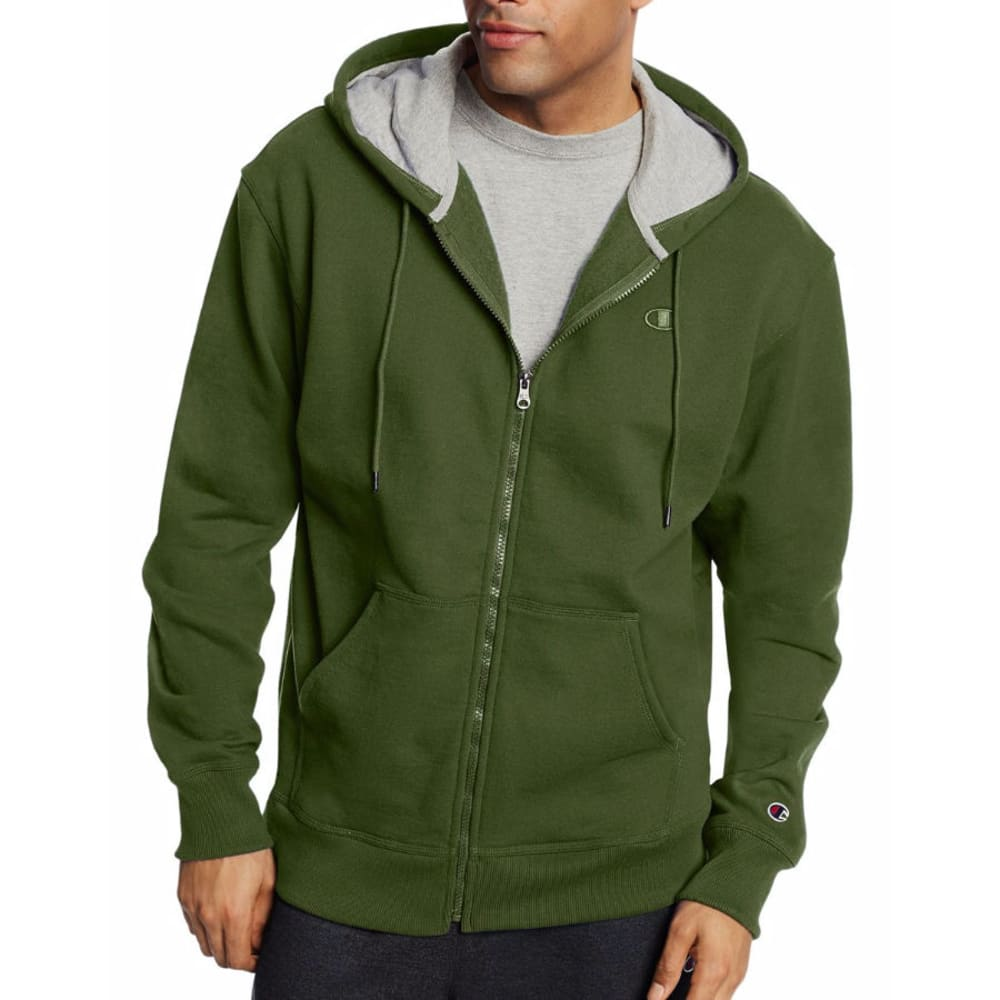 CHAMPION Men's Powerblend® Sweats Full-Zip Hoodie - MEDIUM GREEN