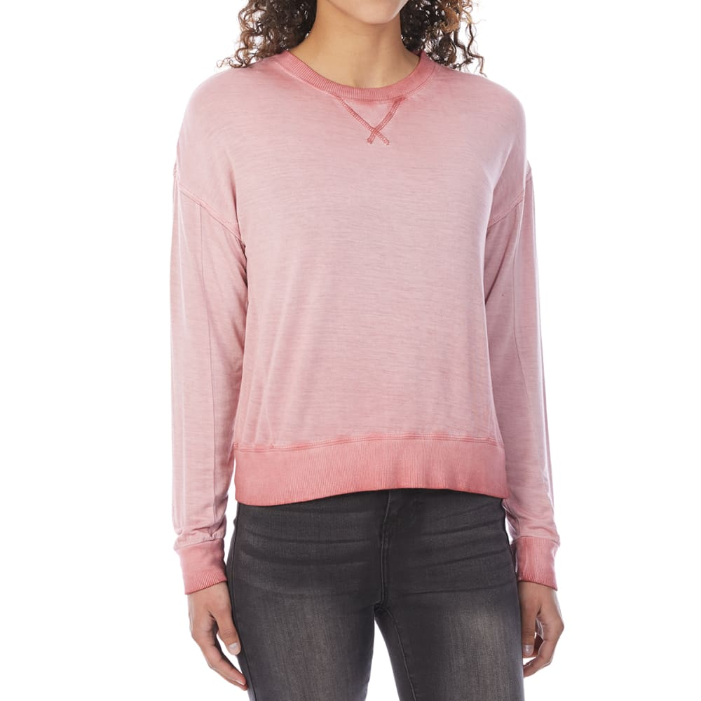 PINK ROSE Juniors' Cropped French Terry Long-Sleeve Pullover - CORAL DREAM