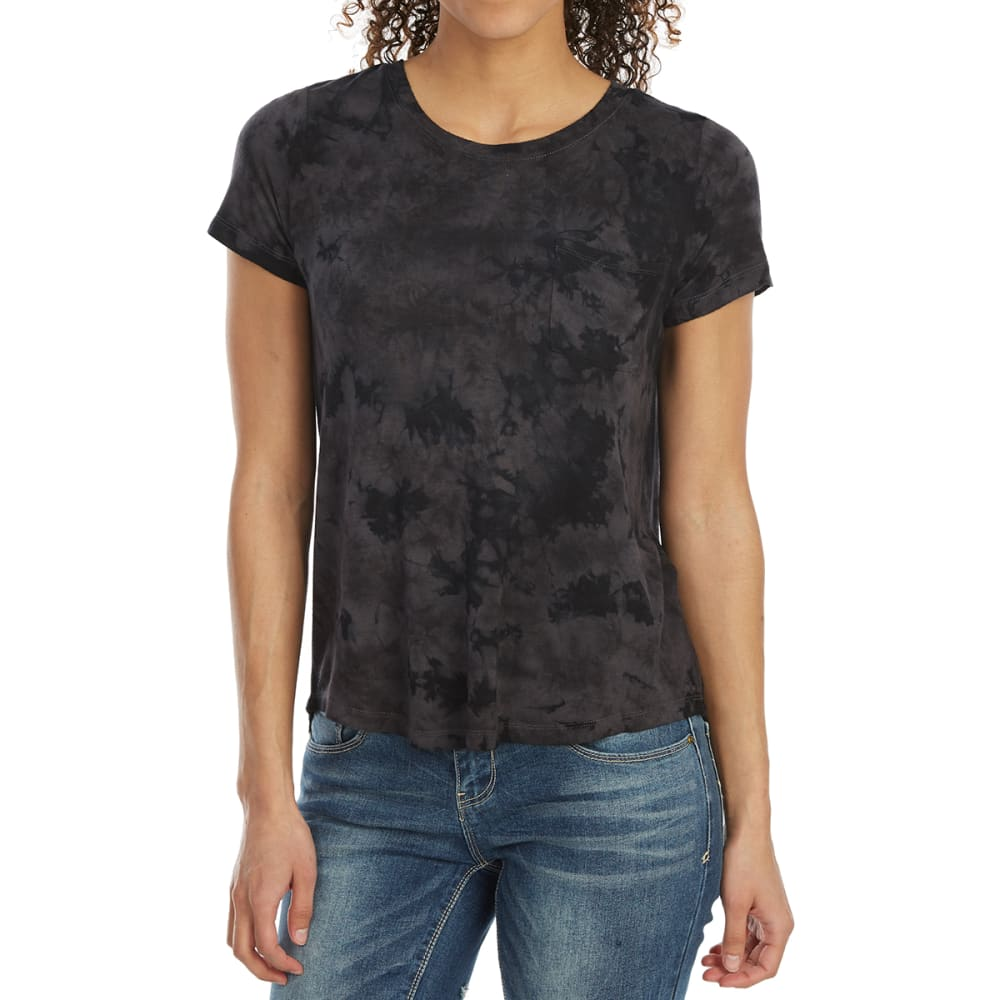 ALMOST FAMOUS Juniors' Tie-Dye Short-Sleeve Pocket Tee - CHARCOAL