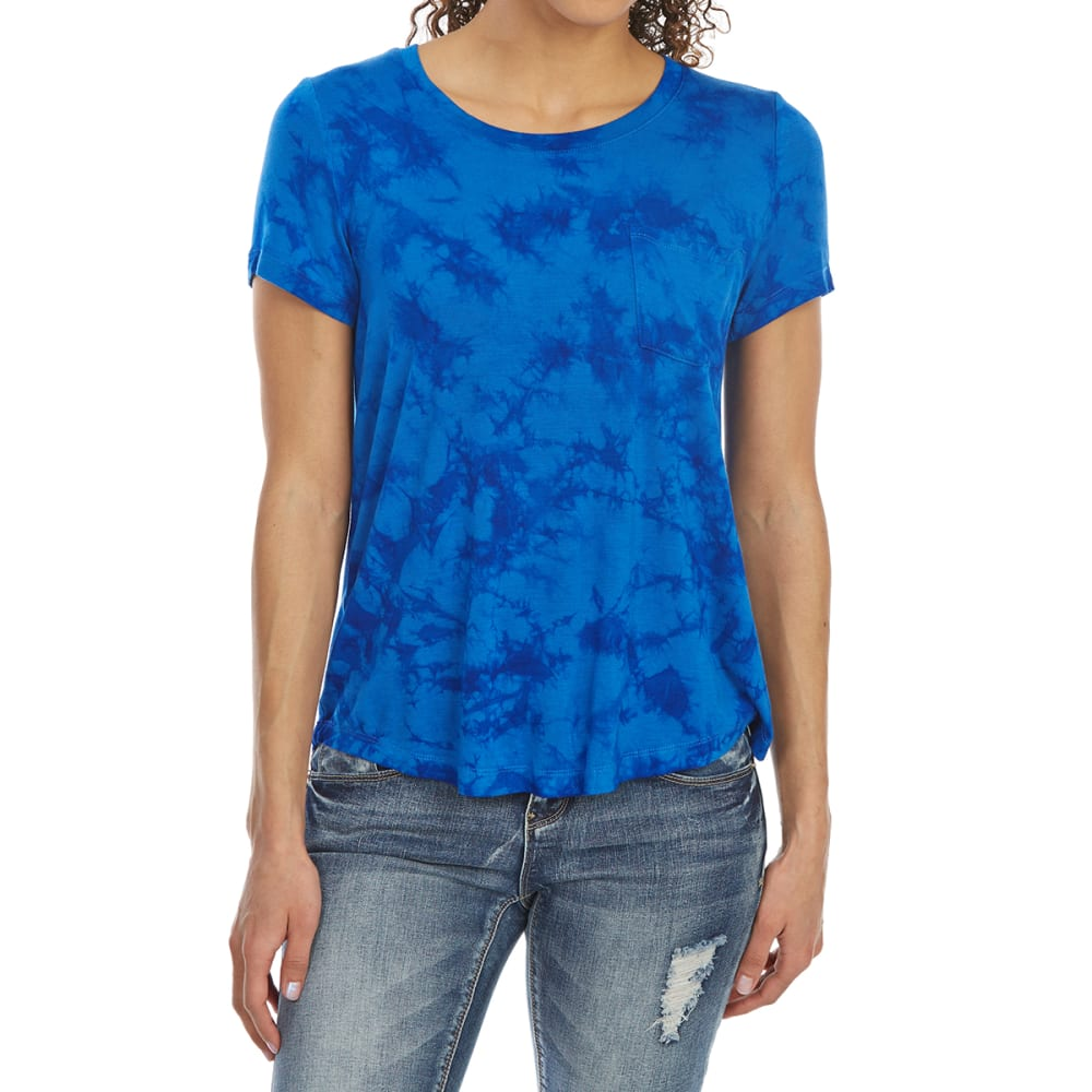 ALMOST FAMOUS Juniors' Tie-Dye Short-Sleeve Pocket Tee - SUMMER NIGHT