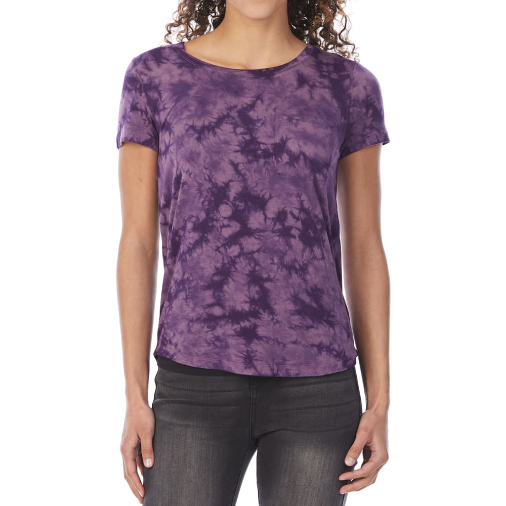 Almost Famous Juniors Tie-Dye Short-Sleeve Pocket Tee - Purple, S