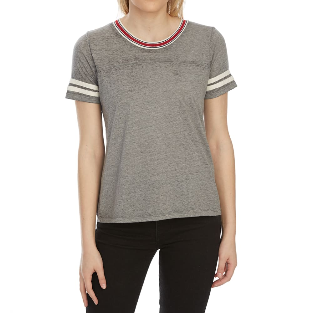 PINK ROSE Juniors' Baseball Sleeve Ringer Tee - GREY COMBO