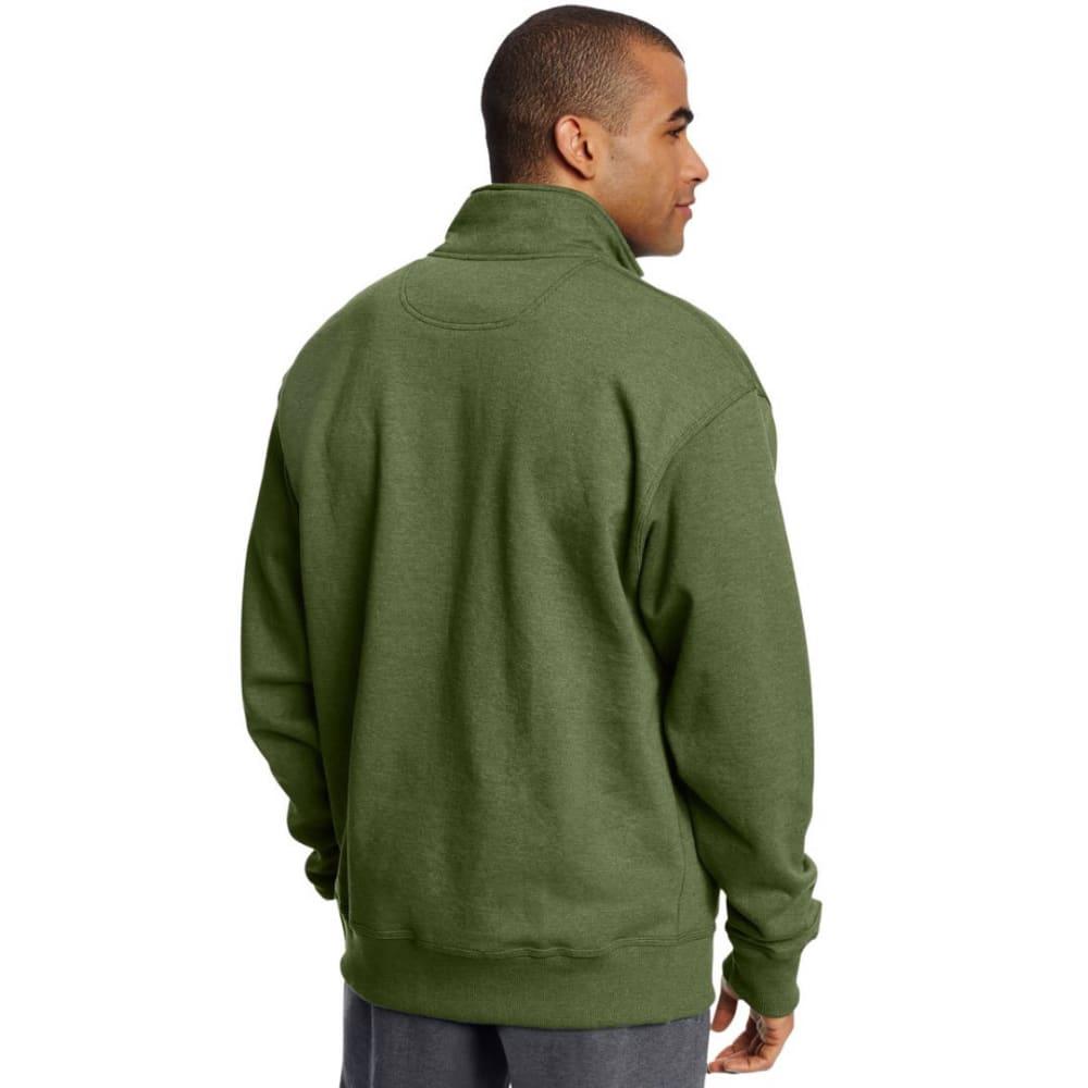 CHAMPION Men's Powerblend Sweats Quarter Zip Pullover - MEDIUM GREEN