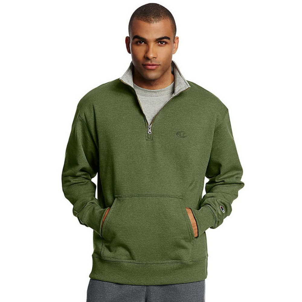 Champion Men's Powerblend Sweats Quarter Zip Pullover - Green, S