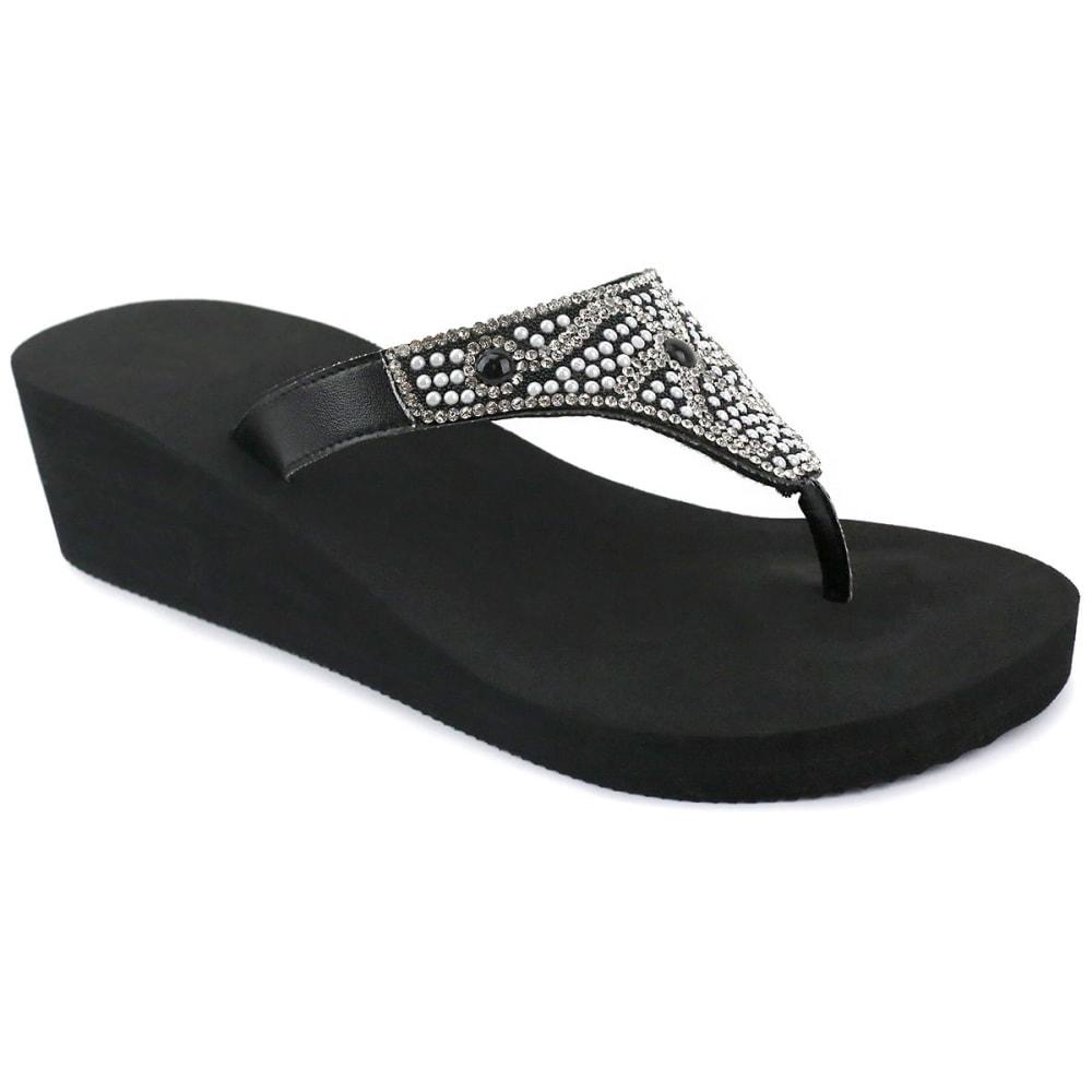 OLIVIA MILLER Women's Rhinestone Pearl Wedge Sandals - BLACK