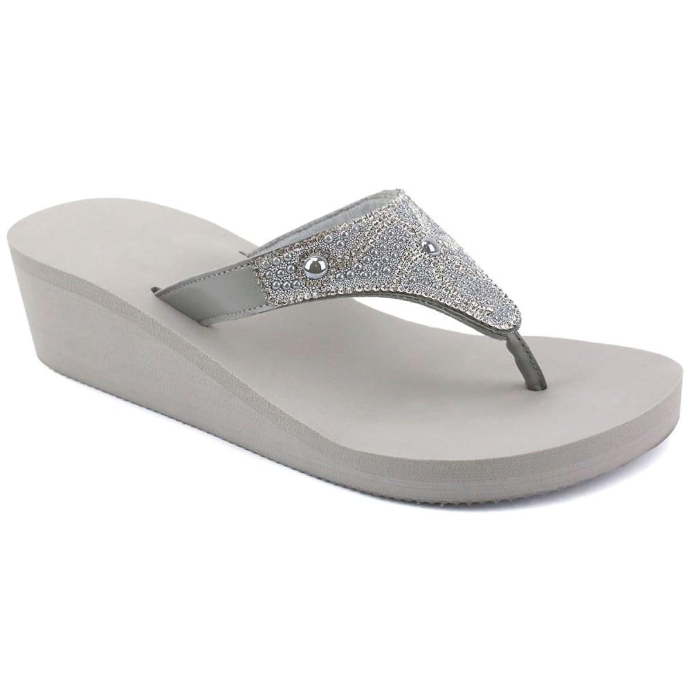 Olivia Miller Women's Rhinestone Pearl Wedge Sandals - Black, 7