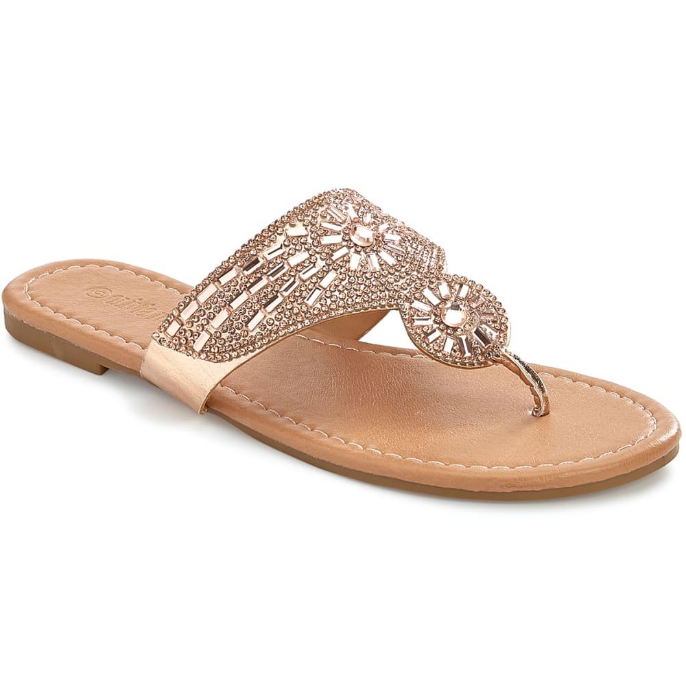 OLIVIA MILLER Women's Rhinestone Hooded Flat Sandals - ROSE GOLD