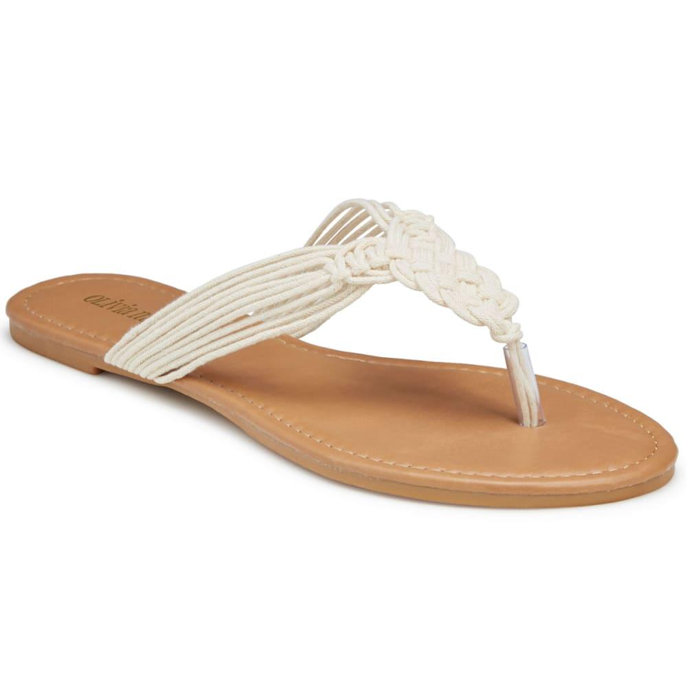 Olivia Miller Women's Woven Rope Flat Sandals - White, 9