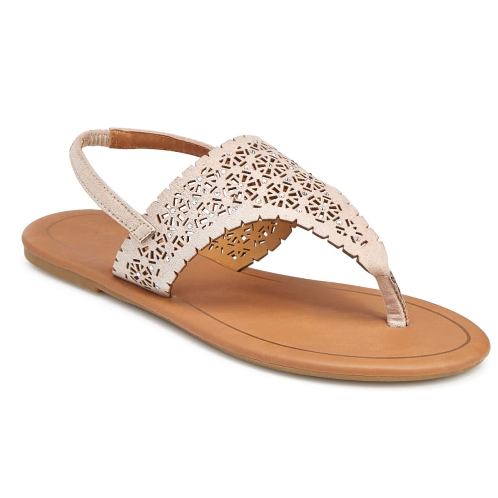 OLIVIA MILLER Women's Cut-Out Hooded Flat Sandals - NATURAL