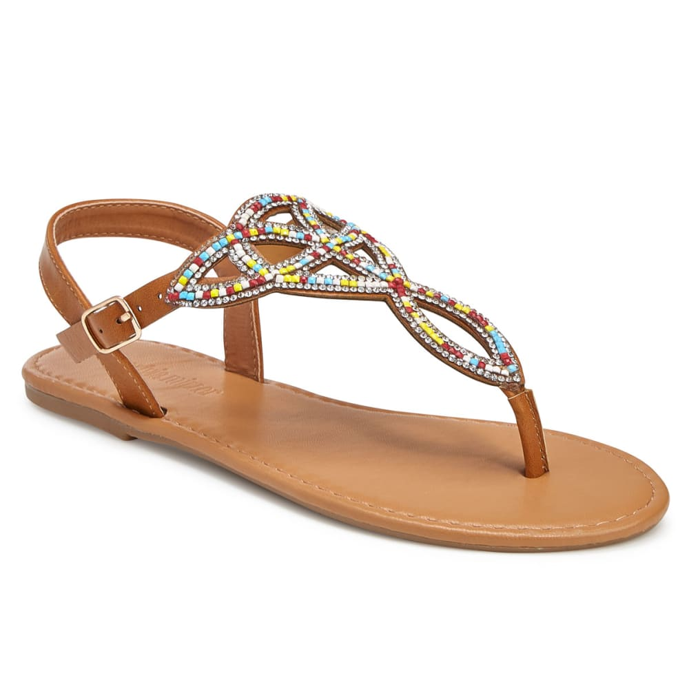 OLIVIA MILLER Women's Rhinestone Cut Out Sling Back Sandals 6