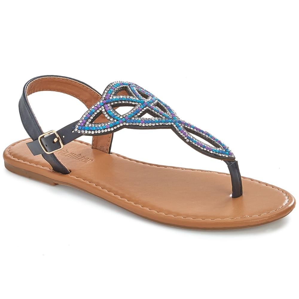 OLIVIA MILLER Women's Rhinestone Cut Out Sling Back Sandals - NAVY