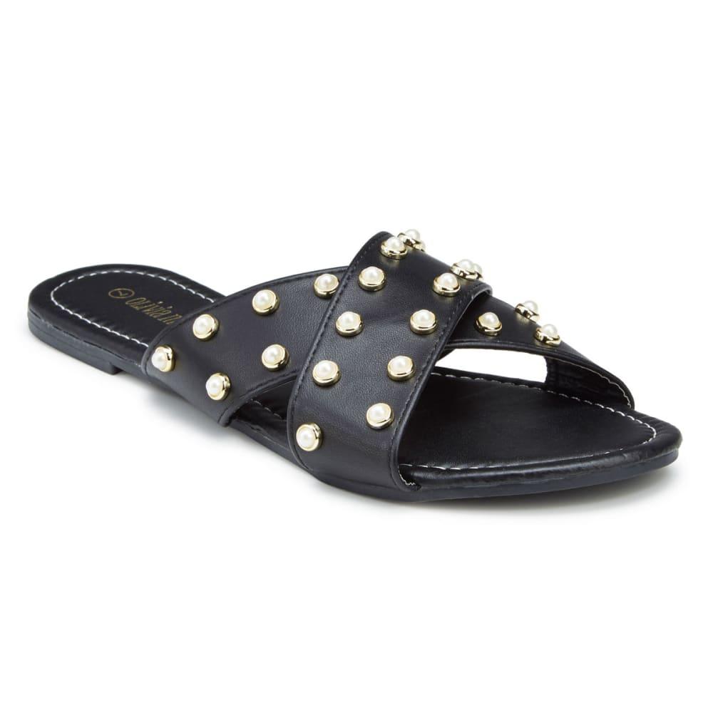 OLIVIA MILLER Women's Pearl Crisscross Slide Sandals 6