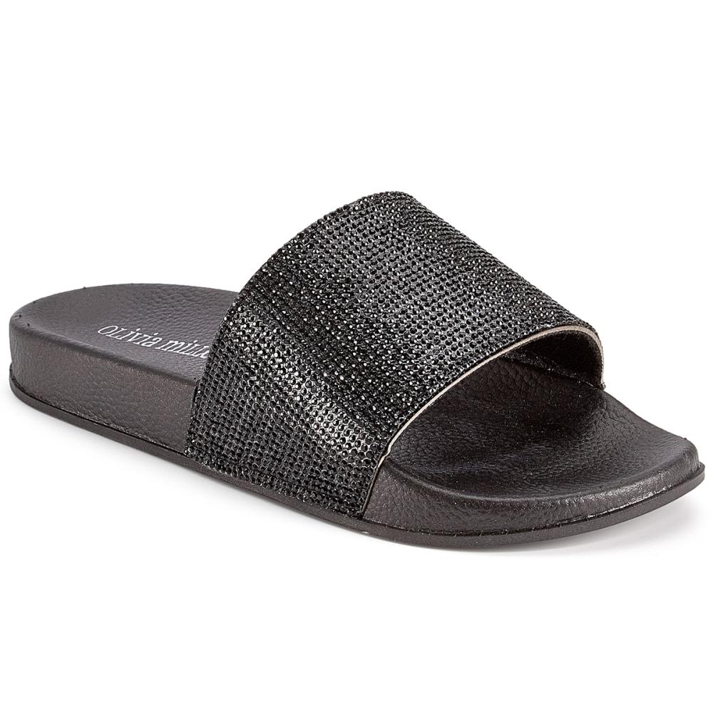 OLIVIA MILLER Women's Rhinestone Slide Sandals - BLACK