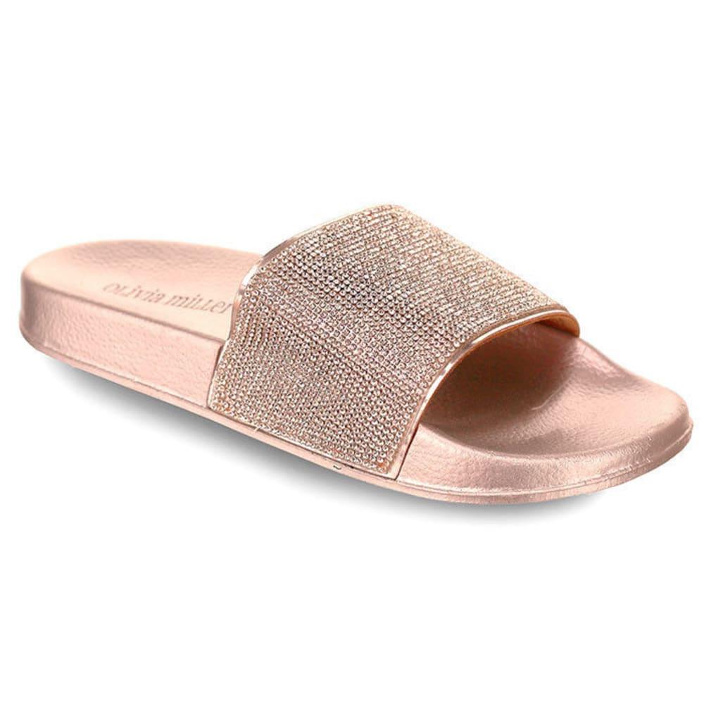 OLIVIA MILLER Women's Rhinestone Slide Sandals 6